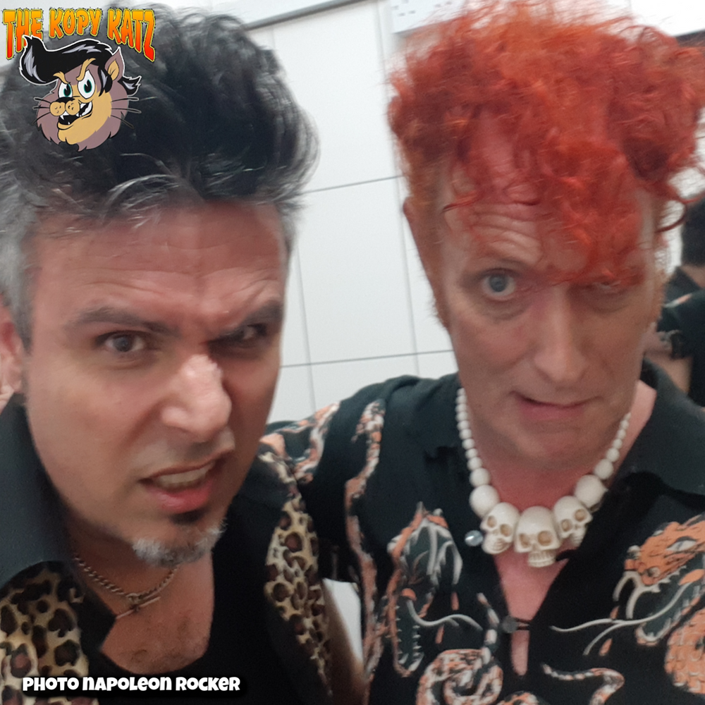 Tim Polecat and Kopy Kat David backstage at their gig at Nells, London Feb 2020
