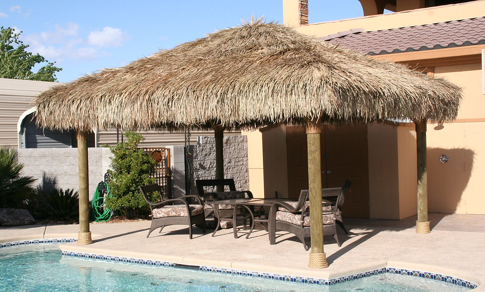 8'x16' TO 12'X24' BAJA THATCH RECTANGULAR 4 POLE HUT