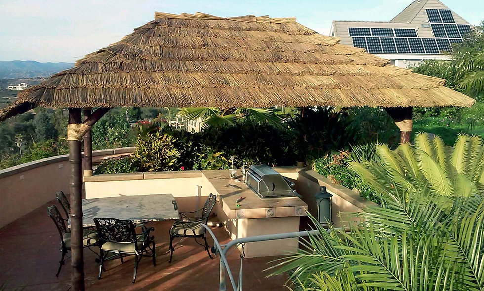 CUSTOM SIZE AFRICAN THATCH RECTANGULAR 6 POLE HUT