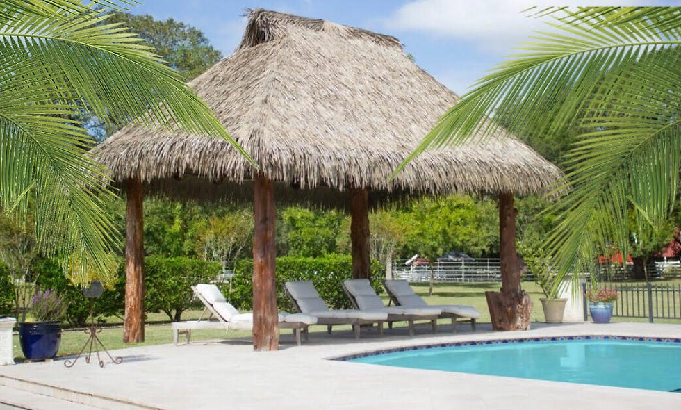 CUSTOM SIZE BAJA THATCH RECTANGULAR 4 POLE VENTED HUT