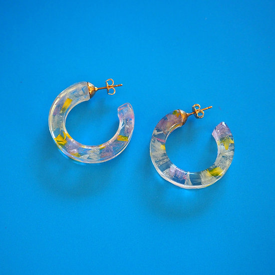 CLAIRE - Boucles d'oreilles fleurs roses, jaunes résine