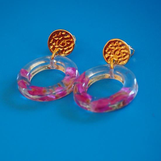 JOYCE - Boucles d'oreilles fleurs roses résine