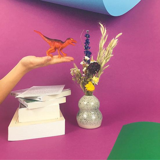CHARLOTTE BRONTË - vase céramique et bouquet de fleurs séchées françaises