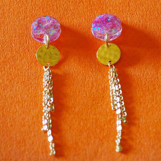NAVIS - Boucles d'oreilles fleurs roses et paillettes résine