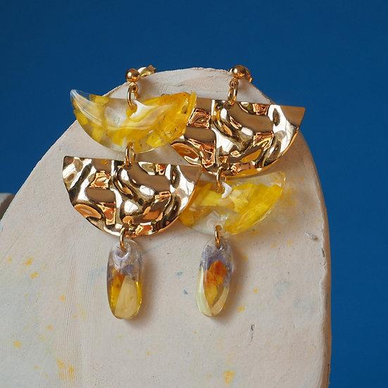 Katia - Boucles d'oreilles fleurs jaunes et résine