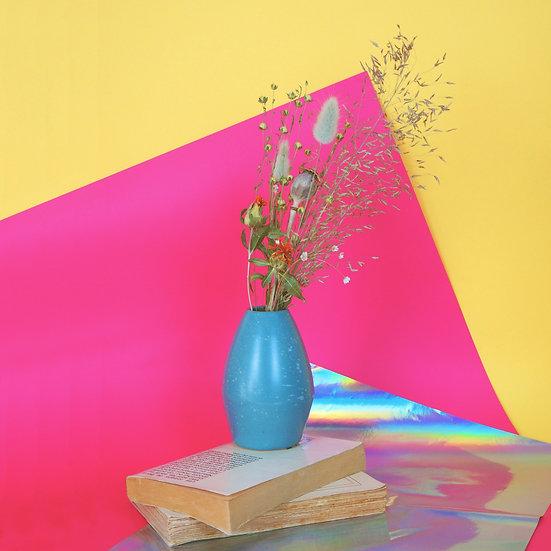 LÉON TOLSTOI - vase céramique et bouquet de fleurs séchées françaises