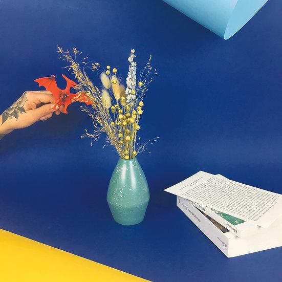LÉON - vase céramique et bouquet de fleurs séchées françaises