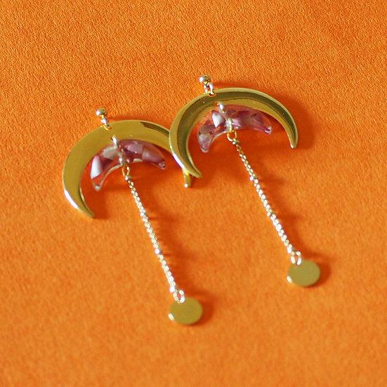WILLOW - Boucles d'oreilles fleurs bordeaux résine