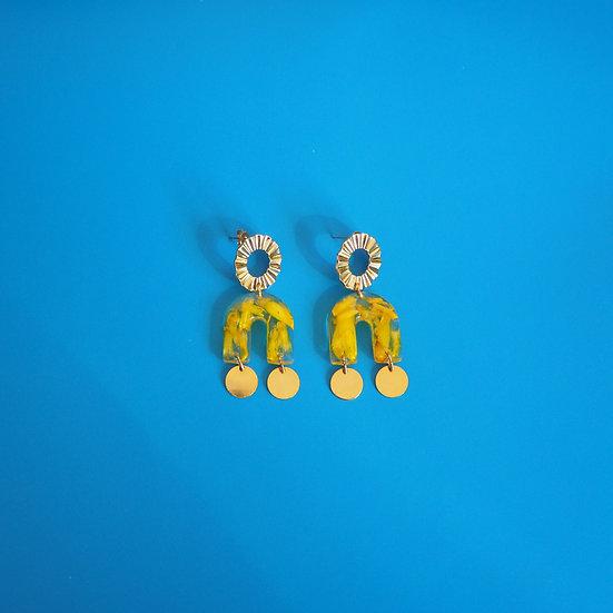 SIMONE - Boucles d'oreilles fleurs jaunes résine