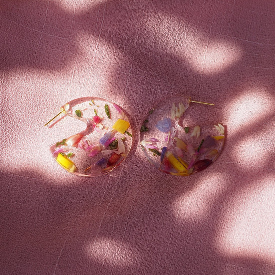 Leymah - Boucles d'oreilles résine fleurs séchées multicolor