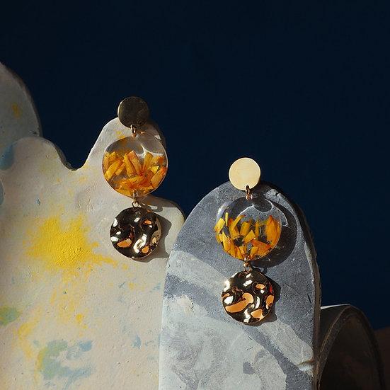 Mae - Boucles d'oreilles résine fleurs séchées
