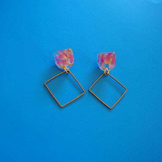 FRANÇOISE - Boucles d'oreilles fleurs fushia résine