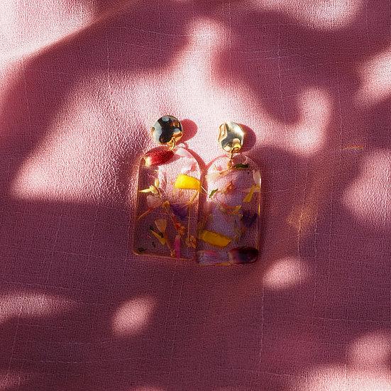 Giorgina - Boucles d'oreilles résine fleurs séchées multicolor