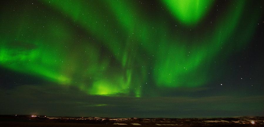 Green Northern Aurora Lights in Iceland