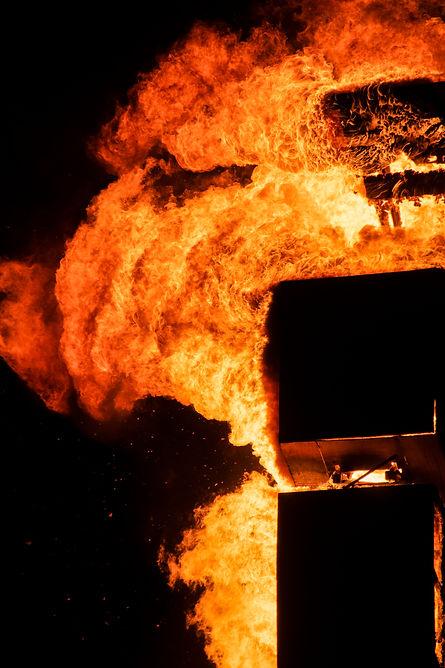 closeup fire burning in Burning Man in Israel