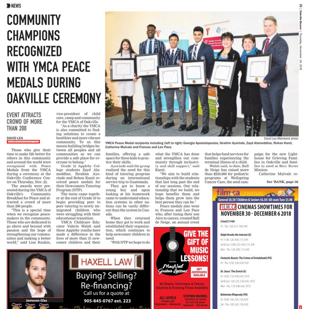 YMCA AWARD ARTICLE OAKVILLE BEAVER