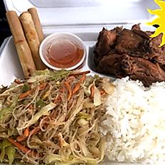 Chicken Adobo, Pancit, Lumpia, Rice and Chili sauce