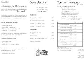 Tarifs Domaine du Cerberon