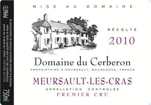 Etiquette Meursault Les Cras