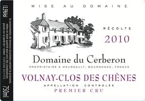 Etiquette Volnay Clos des Chênes