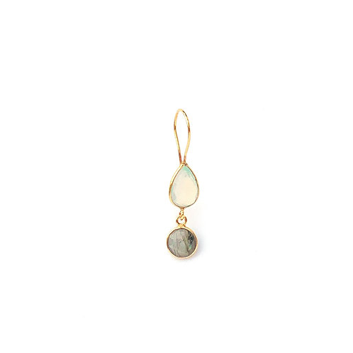 earrings with two stones, an opaline and a labradorite
