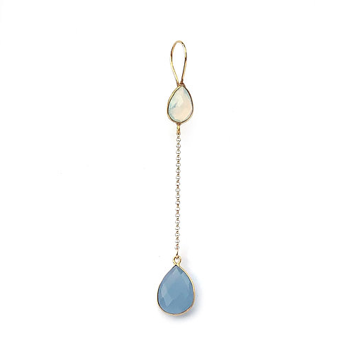 long earrings with two stones, an opaline and a blue chalcedony