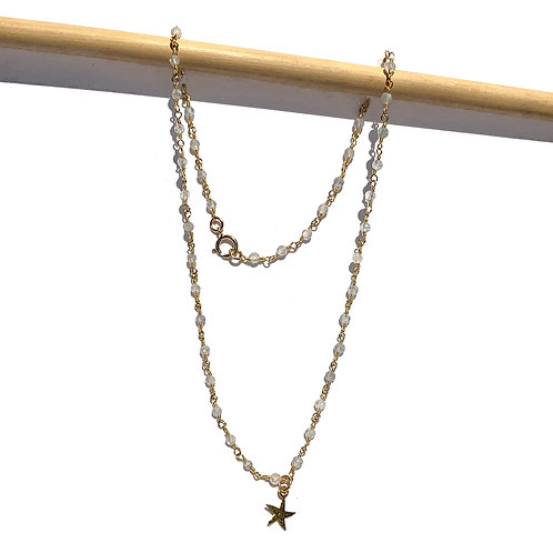 Collier court chapelet doublé or avec labradorite