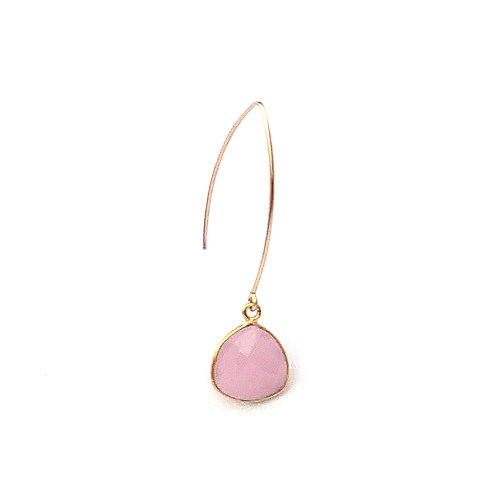 boucles d'oreille en calcédoine rose