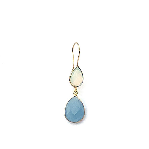 earrings with two stones, one green and one blue chalcedony