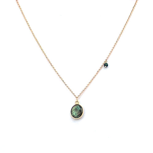 short chain necklace gold filled with labradorite pendant