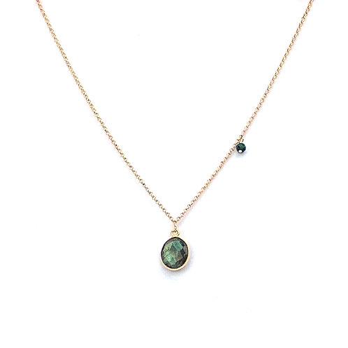 collier court chaine doublée or avec pendentif en labradorite