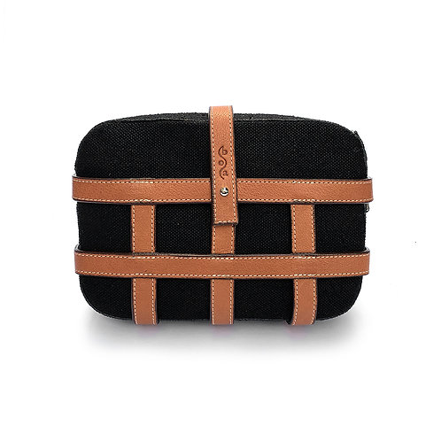CAGE BAG black hemp and leather
