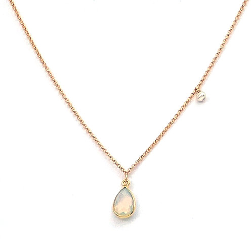 collier court chaine doublée or avec pendentif en opaline