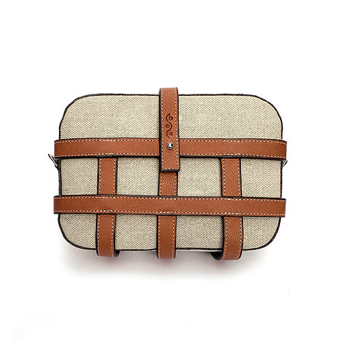 CAGE BAG chanvre naturel et cuir