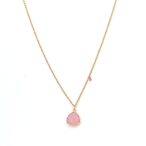 short chain necklace pink chalcedony