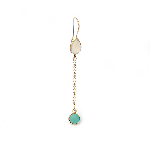 long opaline and green chalcedony earrings