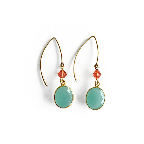 Gold filled earrings with green chalcedony
