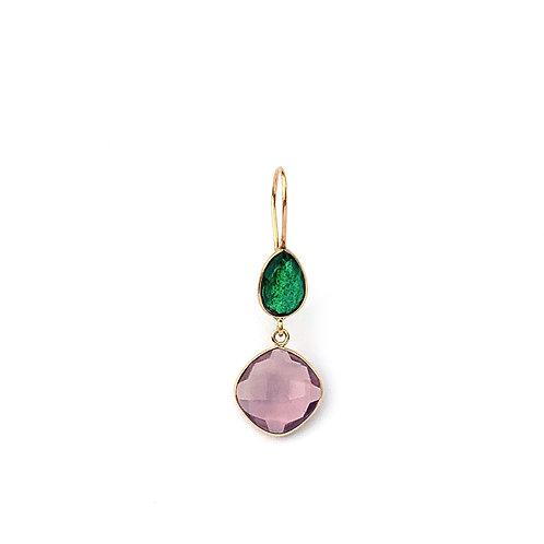 boucles d'oreille avec deux pierres, une verte et une morganite