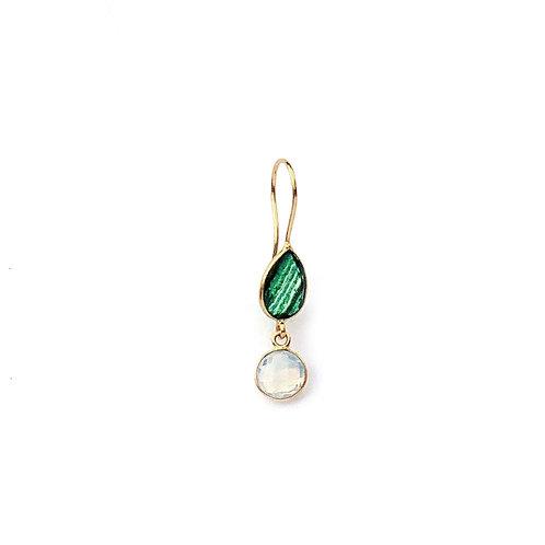 boucles d'oreille avec deux pierres, une verte et une opaline