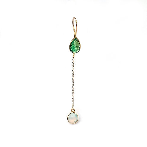 long earrings with two stones, a green stone and an opaline