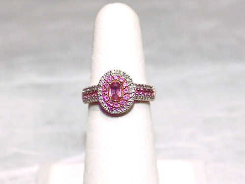 14kt Gold Pink Sapphire Diamond Ring