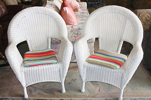 White Wicker Chairs - Set of 2
