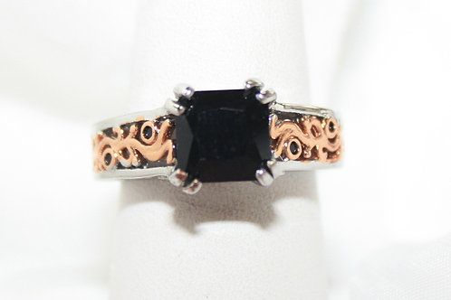 Onyx Rose Gold & Silver Ring