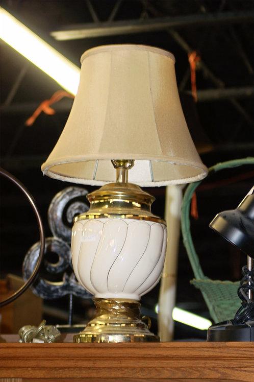 White & Gold Porcelain Lamp