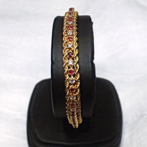 14kt Gold .5ct Diamond & 1ct Ruby Bracelet -SI2 H