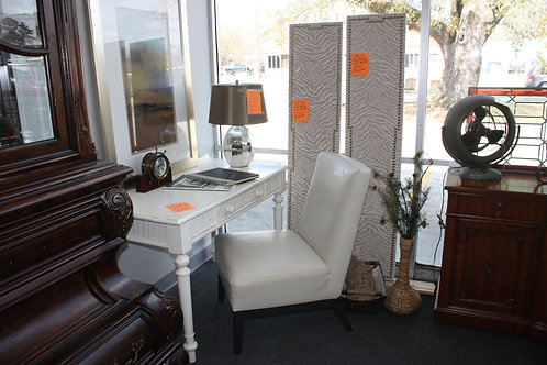 White Leather Oversized Chair
