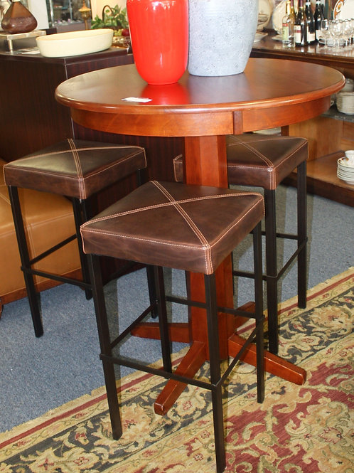 Pub Bar Table & 3 Brown Leather Stools