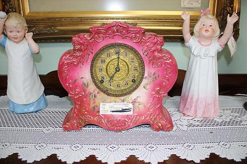Antique Pink Porcelain Clock