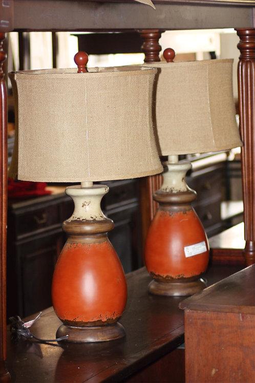 Orange & Tan Lamps - Set of 2