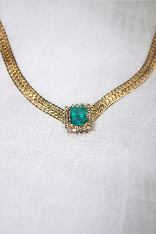 14kt .40ct Diamond & 2.45ct Emerald Necklace